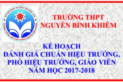 Kế hoạch đánh giá, xếp loại chuẩn Hiệu trưởng, Phó Hiệu trưởng, giáo viên năm học 2017-2018