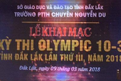 Kỳ thi Olympic 10/3 truyền thống tỉnh Đắk Lắk lần thứ 3 năm 2018