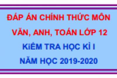 Đáp án kiểm tra HK1 năm học 2019-2020 các môn Ngữ văn, Tiếng Anh và Toán lớp 12 (Đề của Sở GDĐT)